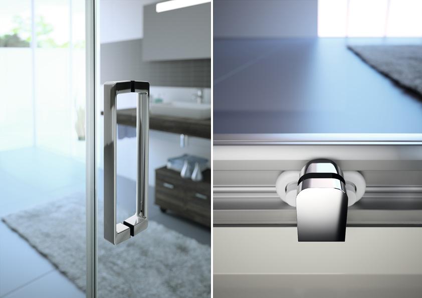 Madlo sprchového koutu je ergonomicky upravené pro snadné otevírání dveří.<br />  Pojezdy sprchového koutu jsou schované tak, aby nerušily elegantní vzhled zástěny.