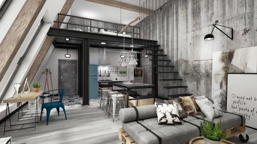 Loftový byt je k pohodlnému bydlení ideální pro jednoho, maximálně pro dva lidi.