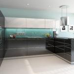 Kuchyně s foliovanými dvířky, šedý lesk