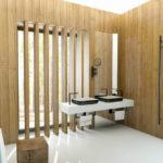 """V tomto případě se architekt snažil zachovat intimitu v koupelně a využil dřevěný obklad, který v části okna proměnil na """"žaluzie""""."""