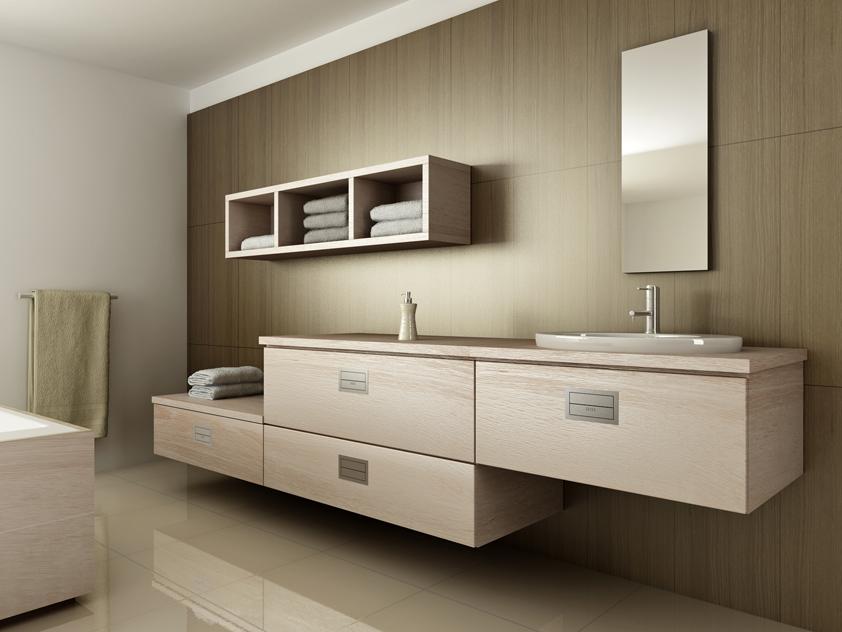 Do koupelny vnáší nábytek z ušlechtilého světlého dubu příjemnou domáckou atmosféru.