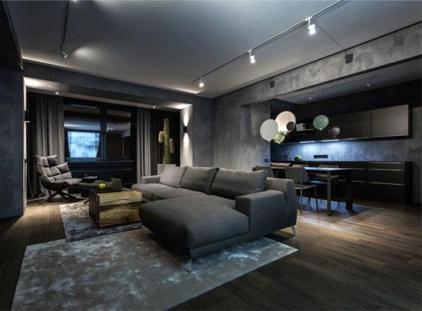 Tmavé zařízení interiérů vynikne ve velkých místnostech a doporučujeme ho všem, kteří mají stále pozitivní myšlení.