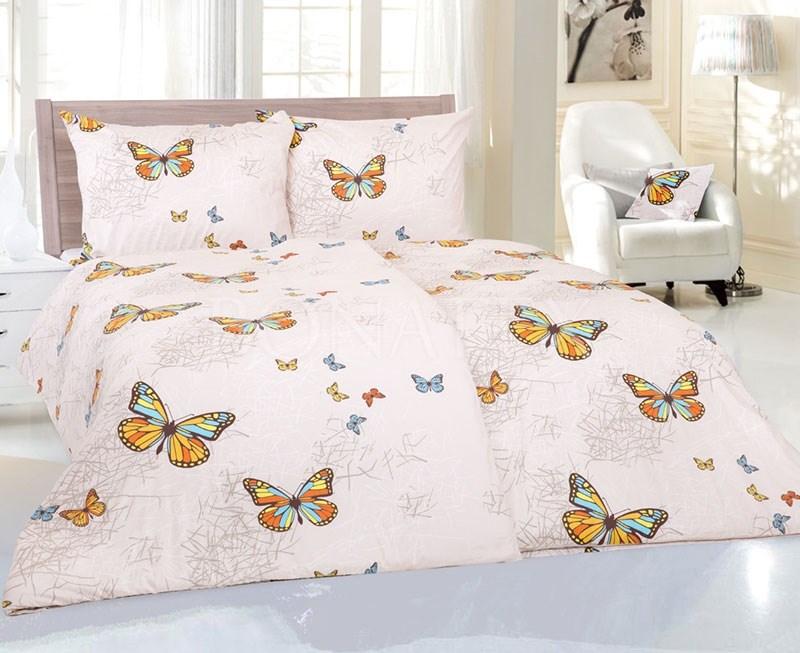 Povlečení Butterfly krémové, bavlněný satén, 140 x 220 cm, cena 839 Kč, Bonatex.
