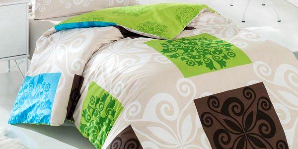 Povlečení Sedef zeleném hladká bavlna, 220 x 200 cm, cena 779 Kč, Bonatex.