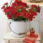 Vázu zastane plechová nádoba.