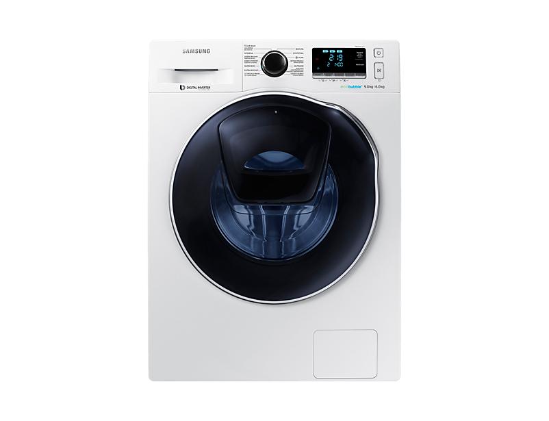 Automatická pračka se sušičkou Samsung WD90K6400OW/ZE, energetická třída A/A, 14 programů, kapacita praní 9 kg, kapacita sušení 6 kg. Cena 18 890 Kč, Euronics.