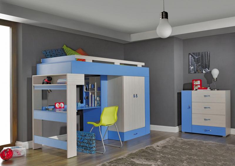 Dětská postel s psacím stolem a skříní Adéla 3, rozměr  95 x 166 x 242,5 cm, rozměr lůžka 90 x 200 cm, cena sestavy 12 448 Kč.