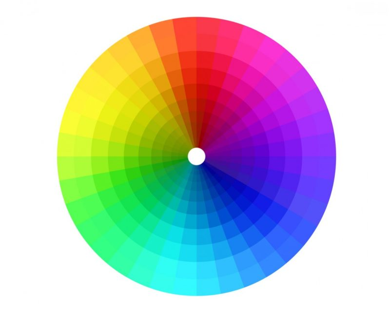 Barevné spektrum. Světlé odstíny místnost opticky zvětšují a prosvětlují. Jsou vhodné do malých prostor. Tmavé odstíny místnost opticky zmenšují. Nedoporučují se do malých prostor.