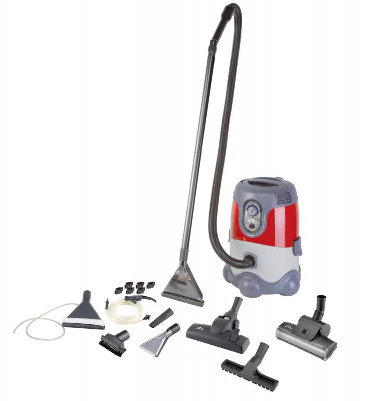 Víceúčelový vysavač ETA Mariner 7865 90020 s možností suchého nebo mokrého vysávání, hloubkové čištění a propírání koberců nebo čalouněného nábytku. Objem prachového sáčku 5 l, nádoba na vodu má objem 8 l. HLučnost 80 db, sací výkon 300 W, cena 4 999 Kč.