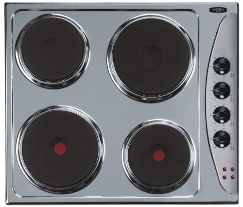 Elektrická varná deska Mora VDE 630 X se 4 litinovými plotýnkami z toho 2 rychlovarné, nerezový povrch, ukazatel funkce každé plotýnky. Cena 2 799 Kč.