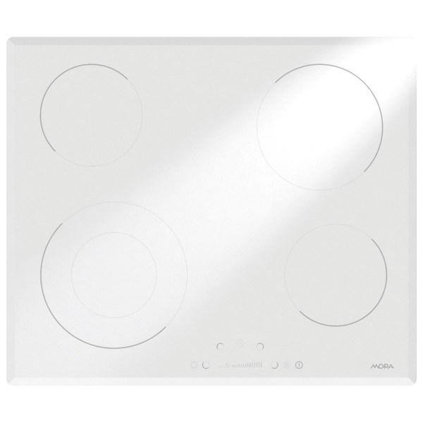 Sklokeramická deska Mora VDS 641 v bílé barvě se zkosenými hranami, posuvné dotykové ovládání, úsporná zóna, budík, automatické vypnutí, dětská zámek, úsporný program. Cena 7 990 Kč.