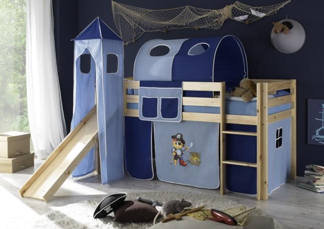 Textilní doplňky k patrové posteli. Třídílný set domeček, cena 699 Kč, věž pirát 999 Kč, tunel pirát 1 799 Kč.