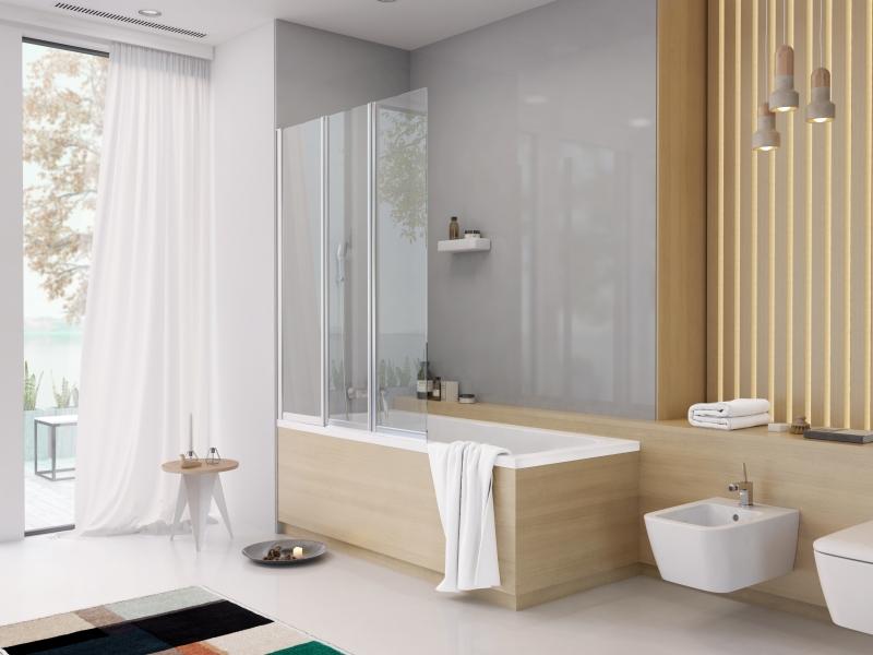 Asymetrické vany Split je možné doplnit vanovou zástěnou ze stejné kolekce.