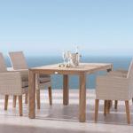 Nábytková sestava Best Alicante z umělého ratanu s hliníkovou konstrukcí a dřevěným podnožím.