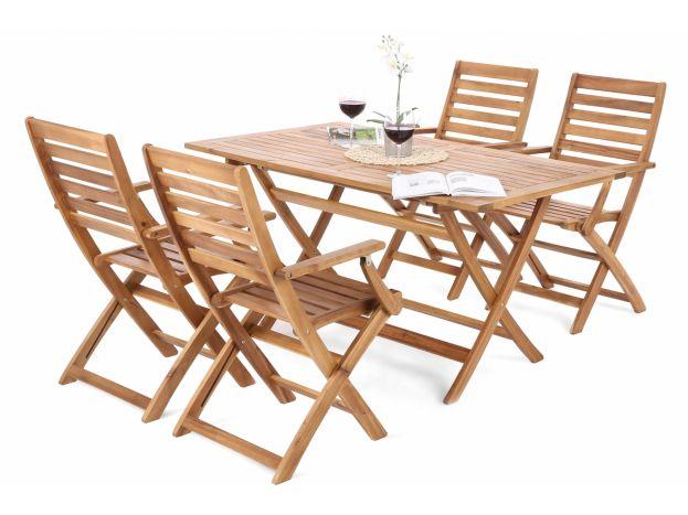 Zahradní rozkládací set Marsen 1z masivu akácie mořeného do hnědé barvy. Cena židle 7 040 Kč, rozměr stolu 140 x 80 x 71 cm, cena 7 040 Kč.