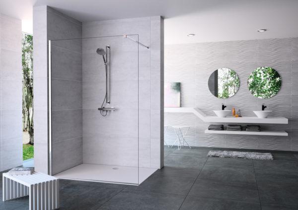 Sprchový kout ve stylu walk in firmy Hüppe