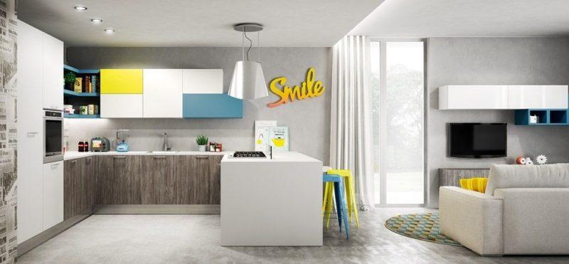 Kuchyňský prostor je možné opticky vymezit od obývacího třeba jen sníženým stropem.