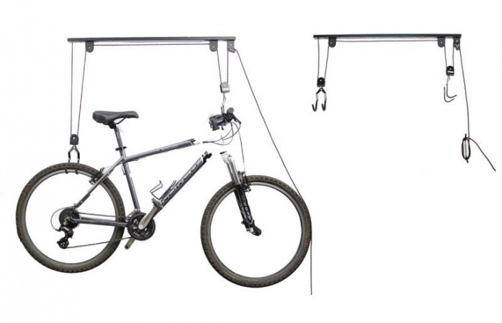 Univerzální držák k zavěšení jízdních kol a jejich vytažení ke stropu pomocí kladkového mechanizmu se dvěma zdvojenými háky. Zásadně zjednodušena je montáž, držák je při prodeji kompletně smontovaný, s kvalitním lanem a brzdou. Cena 699 Kč, Mojekolo.