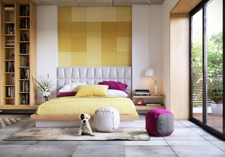 Barevná stěna limituje výběr ostatního zařízení. Zejména barvu povlečení.