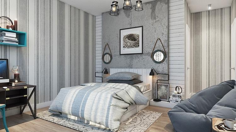 Betonová stěrka doplněná vhodnou tapetou může vnést do místnosti moderní prvek, který ale nebude studený.
