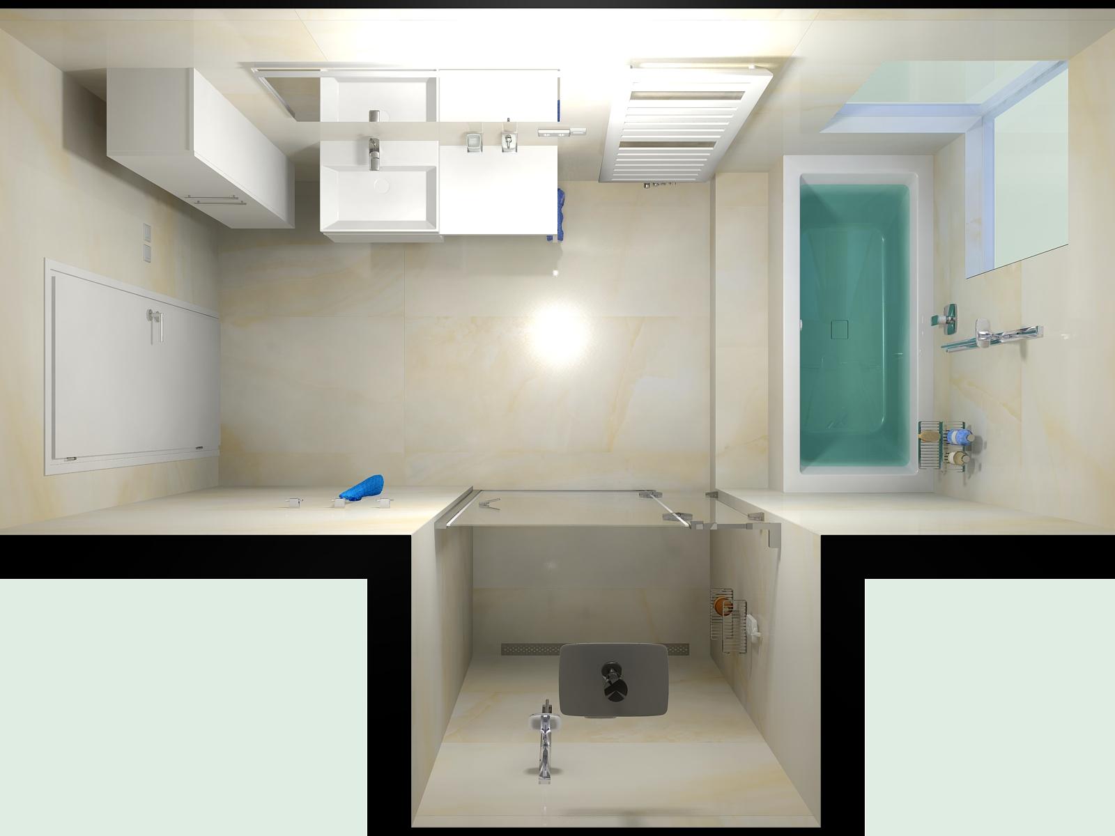 Vítězná koupelna, návrh Roman Běloubek, JOPA MB, Mladá Boleslav. Koupelna s designovým radiátorem Zehnder Metropolitan Spa, bílá RAL 9016