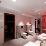 20. místo, návrh Rostislav Letáček, Bra3D visual studio, Chrudim. Koupelna s designovými radiátory Zehnder Metropolitan Bar, černá black matt 0557