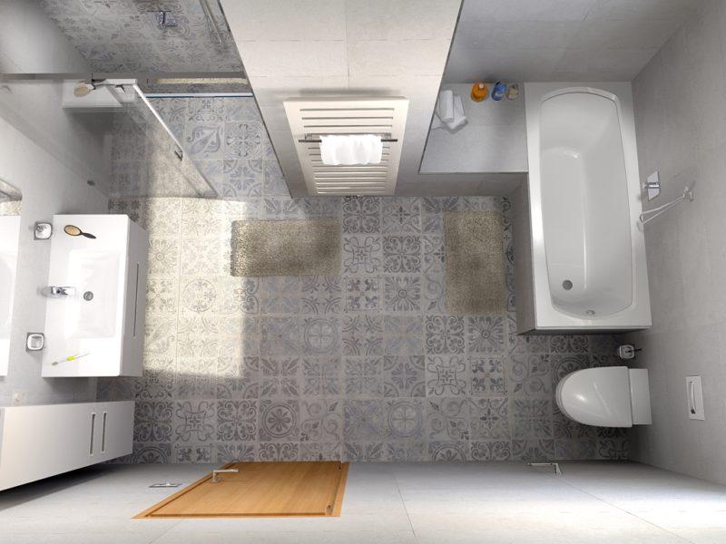 2. místo, návrh Petr Slavík, Koupelnové studio Bravea, Roudnice nad Labem. Koupelna s radiátorem Zehnder Metropolitan Bar, barva cream 9001
