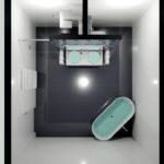 5. místo, návrh Tomáš Kýbal, Gienger Centron, Praha 4. Koupelna s designovým radiátorem Zehnder Forma Asym, bílá RAL 9016
