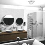 8. místo, návrh Ing. Roman Trenkler, Instalatérské potřeby Šátek CZ, Sadská. Koupelna s dvouřadým radiátorem Zehnder Yucca Asym, bílá, montáž kolmo na zeď