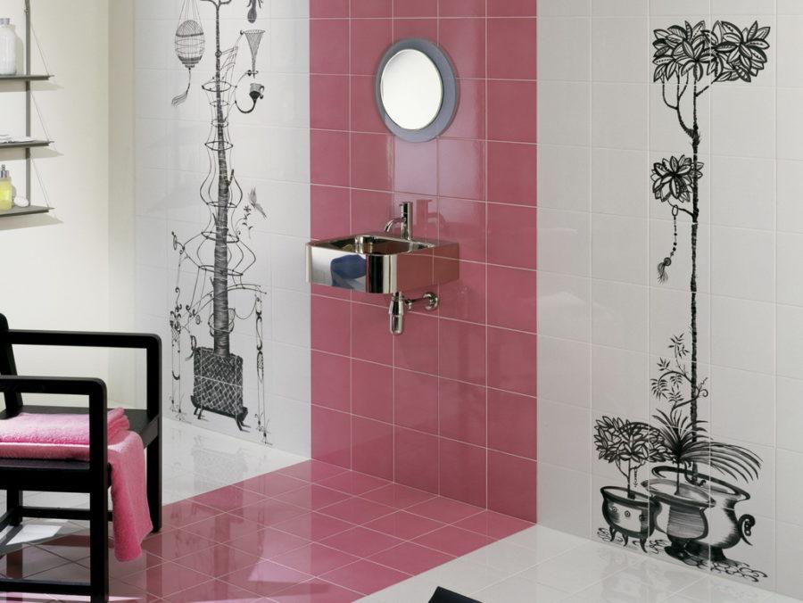 V nabídce firem najdete nejrůznější odstíny růžové. Série Colore&Colore (Bardelli) s dekorem od designéra Ruben Toledo.