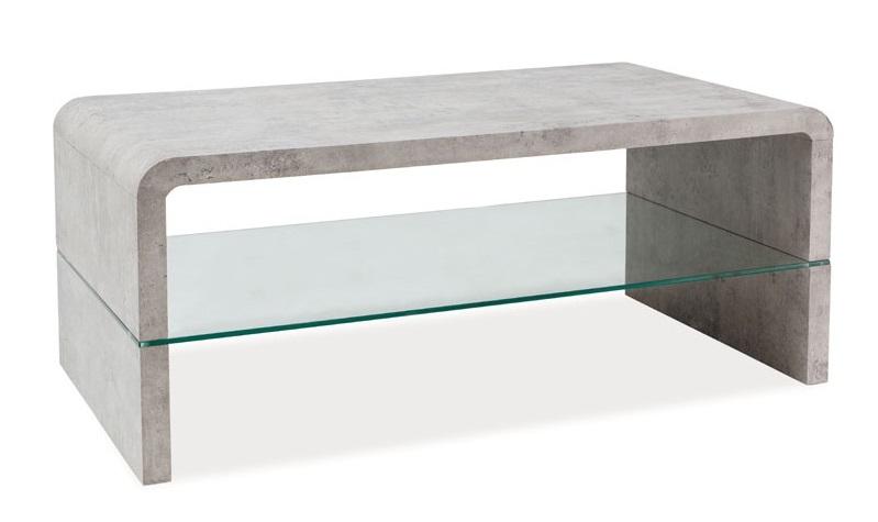 Poznali byste, že i tento konferenční stolek šel okolo skutečného betonu velkým obloukem? Designeři dnes dokáží dělat zázraky. Vkombinaci se skleněnou poličkou dokáže býtpraktickým a originálním parťákem.