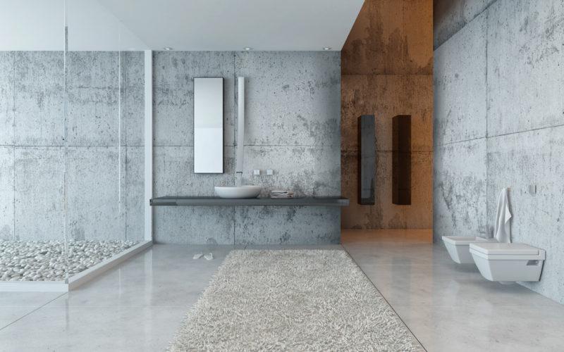 Beton v kombinaci s bílou sanitární keramikou působí velmi elegantně.