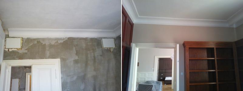 Při instalací a po instalaci. Neviditelné reproduktory se dají jednoduše instalovat také do cihlové stěny, jako je tomu v případě tohoto bytu.