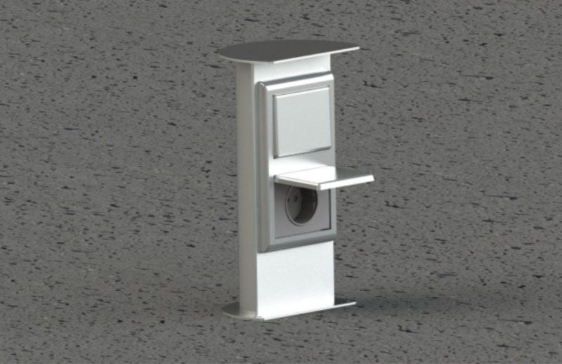 Energetický sloupek (zásuvkový stojan) může být vybavený zásuvkami 230V, DATA, vypínačem atd.