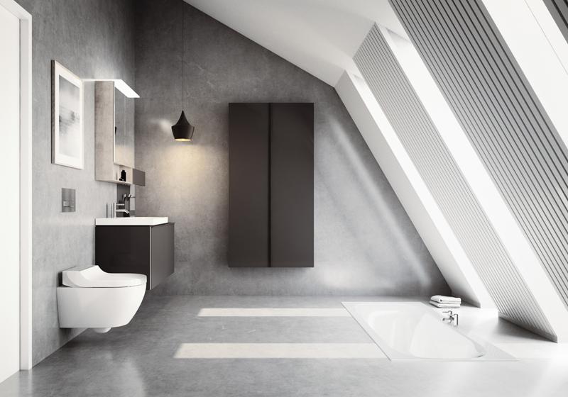 Tuma komfort je toaleta se sedátkem s integrovanou sprškou. Oba kusy (toaletu i sedátko) je možné koupit samostatně. Geberit