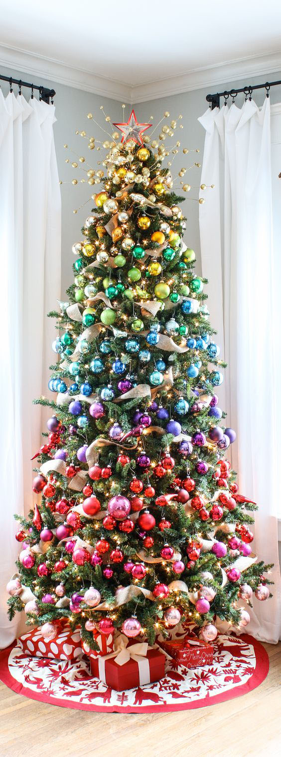 Jestli se neumíte rozhodnout, jakou barvu zvolit, pak můžete každé patro stromku obarvit jinak.