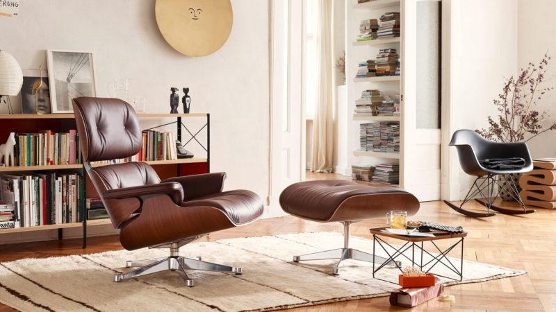 Lounge Chair, ocelová konstrukce sohýbanou překližkou, design Charles & Ray Eames, Vitra
