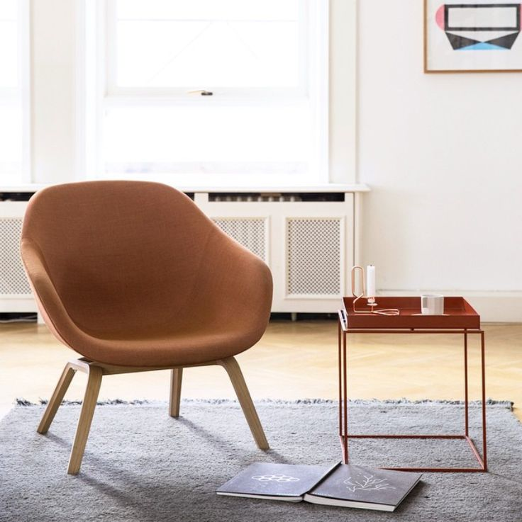 About a lounge chair, konstrukce z dubu, potah Kvadrat (90% nová vlna, 10% nylon), design Hee Welling, Hay
