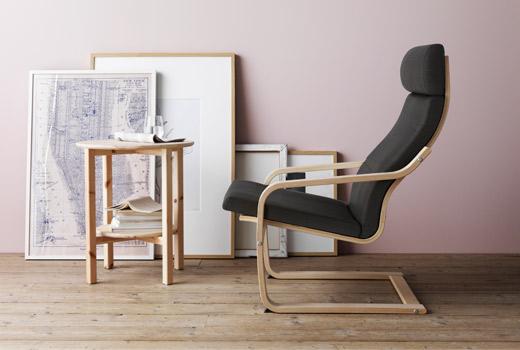 Poäng, pružný rám zohýbaného dřeva, design Noboru Nakamura, Ikea