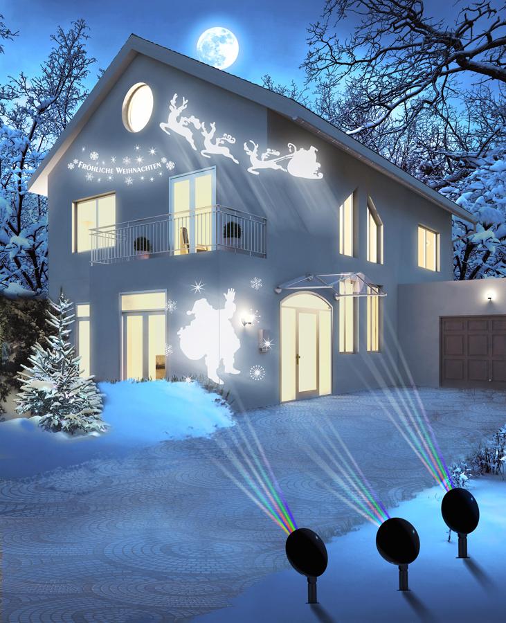 Projektor může promítat nejrůznější vánoční motivy.
