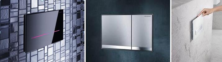Sigma80 umožňuje zvolit barvu podsvícení. Geberit Sigma60 – zalícované s povrchem. Geberit Sigma40 s jednotkou pro odsávání zápachu.