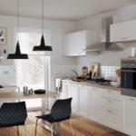 Zajímavě řešená bílá kuchyně
